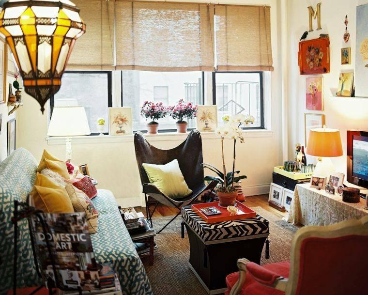 pequeno elementos etnicos salon idea maderas