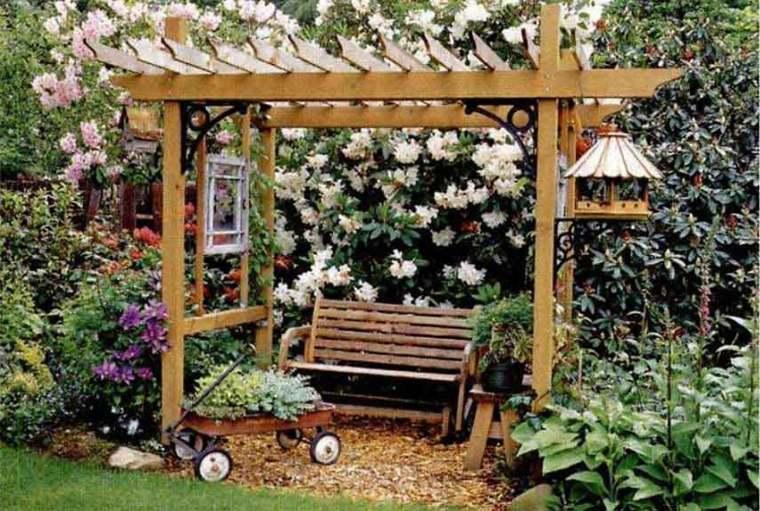 pérgola jardín decorar