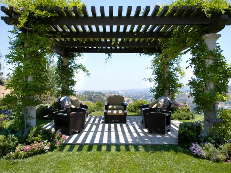 cortinas bajo comedor elegante jardines exteriores cesped
