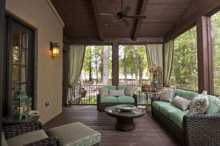 porche cortinas color verde