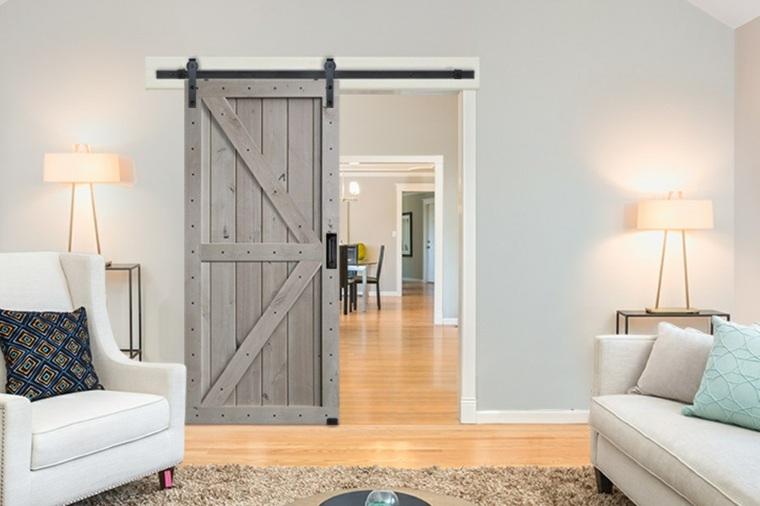 puerta corredera gris