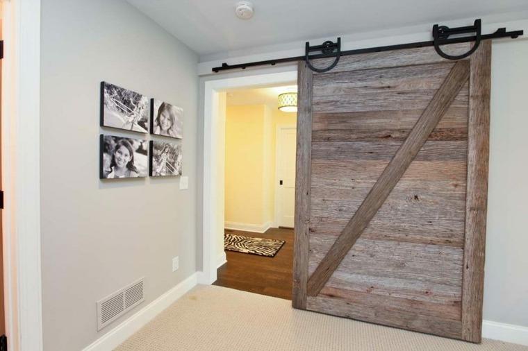 puerta madera corredera con railes