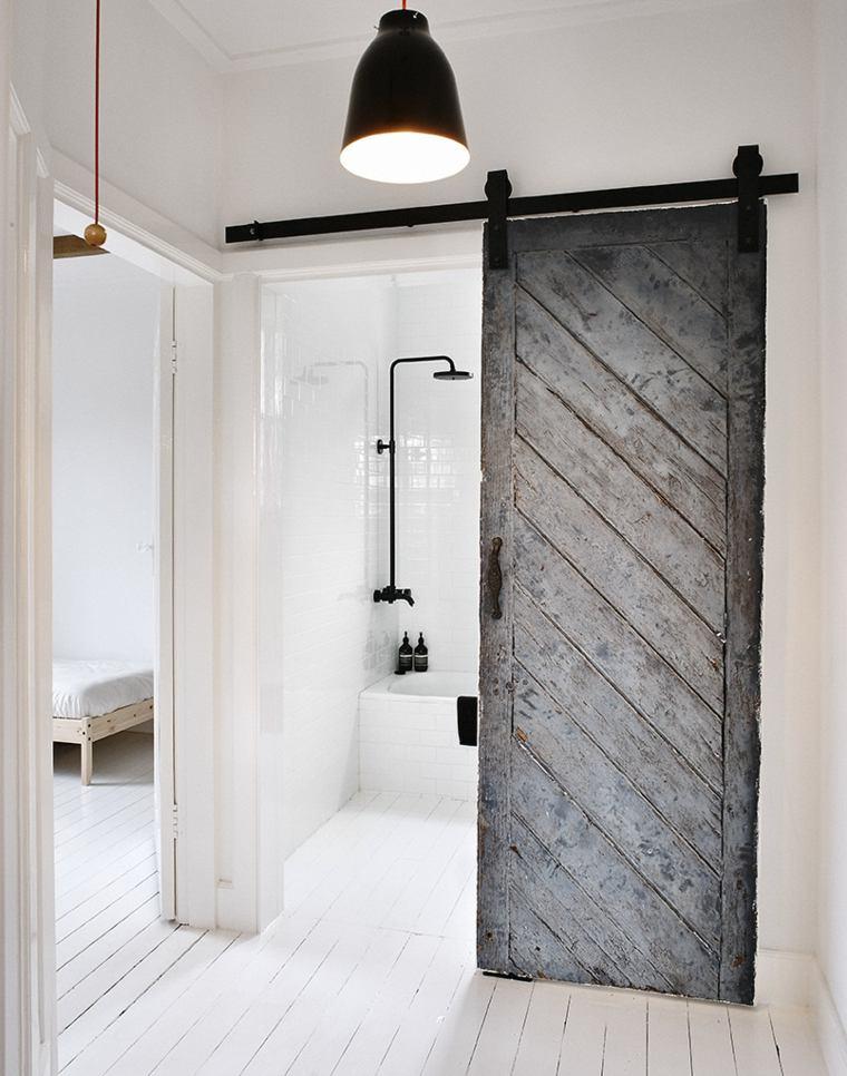 puerta corredera madera color gris