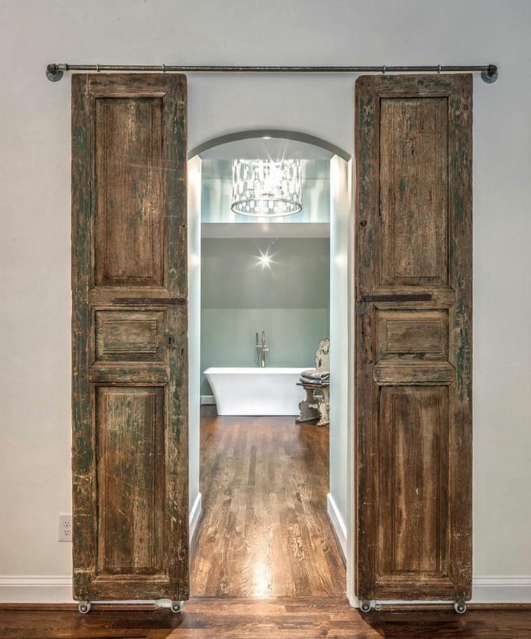 Puertas correderas de madera de estilo granero 42 ideas - Puertas madera correderas ...