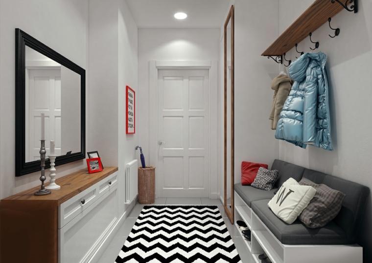 recibidor pequeño diseno alfombra blanco negro banco ideas