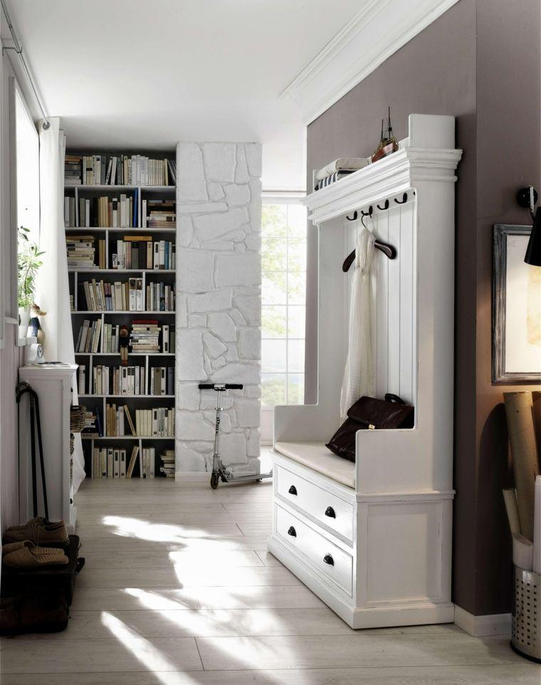 recibidor pequeño diseno armario blanco ideas