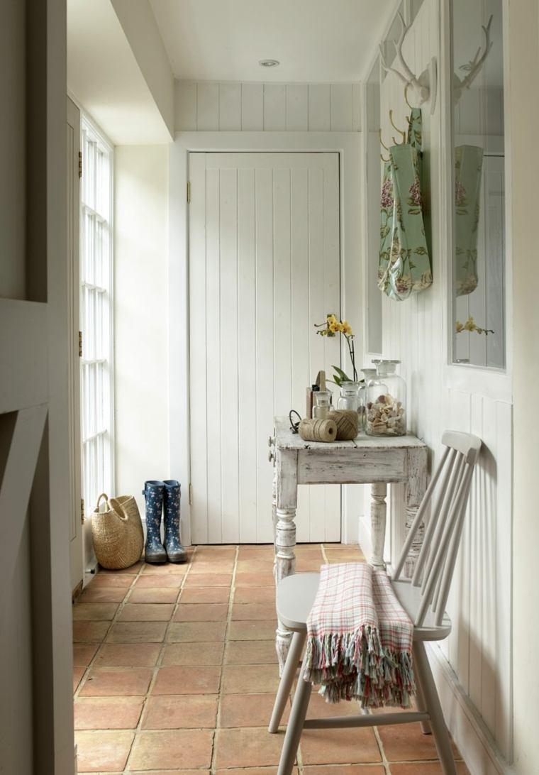 recibidor pequeño diseno consola silla madera ideas