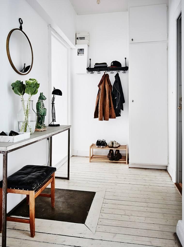 recibidor pequeño diseno estilo muebles banco cuero ideas