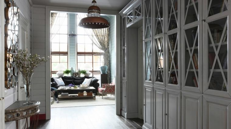 recibidor pequeño diseno muebles color gris ideas