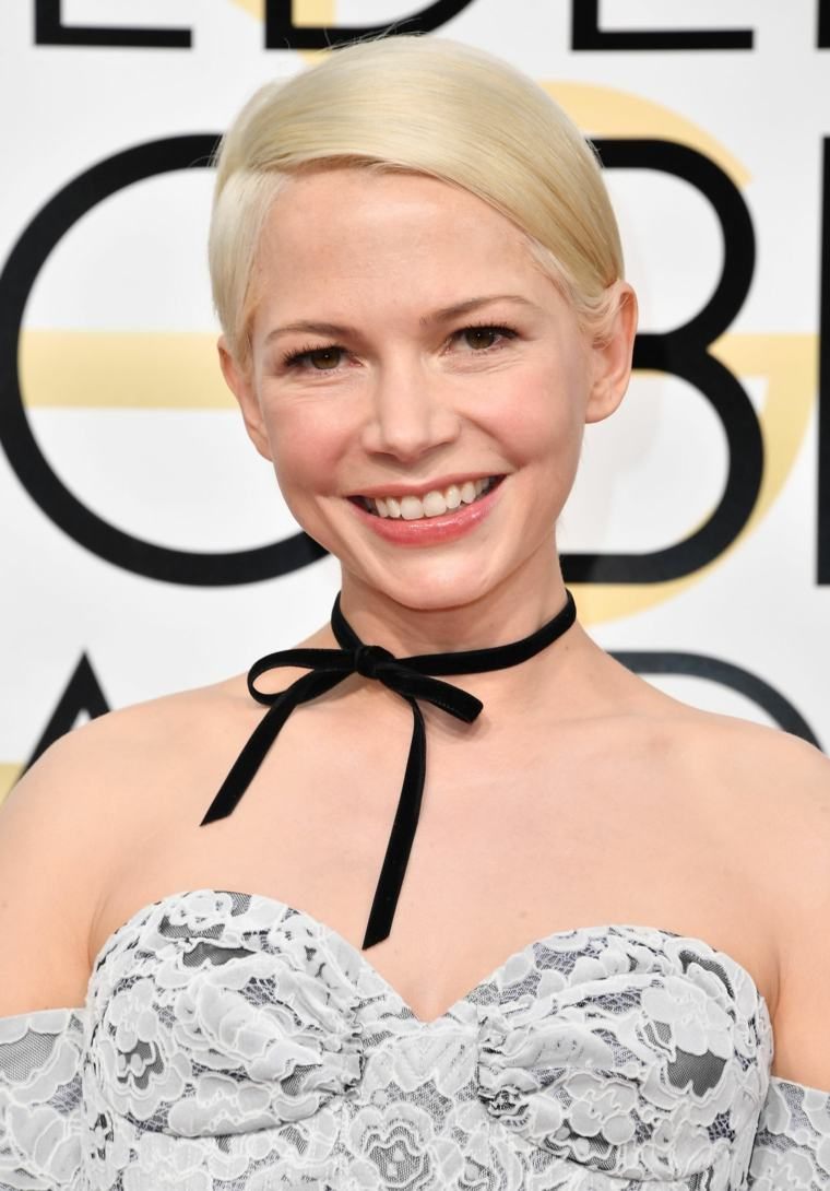 rubio platino Michelle Williams liso metido detras oidos ideas