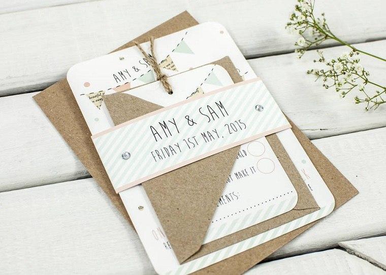 invitaciones de bodas rustica colores claros estilos materiales