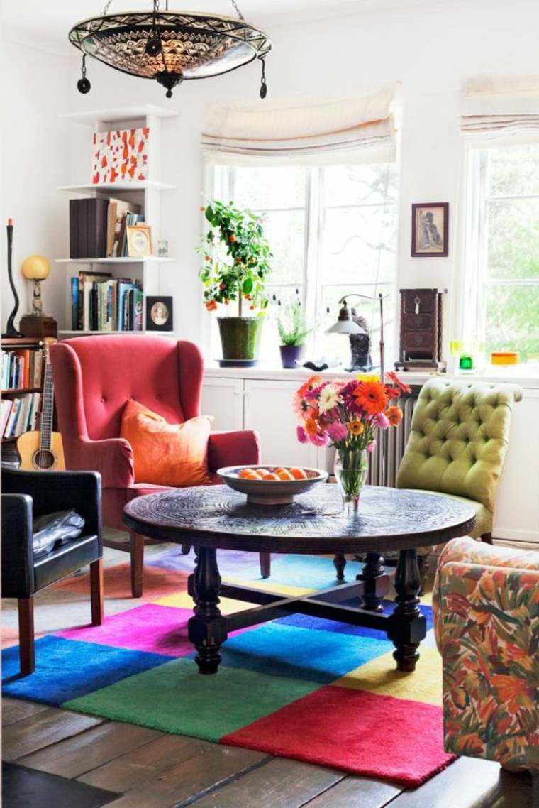 salon flores colorido alfombra especial estilos