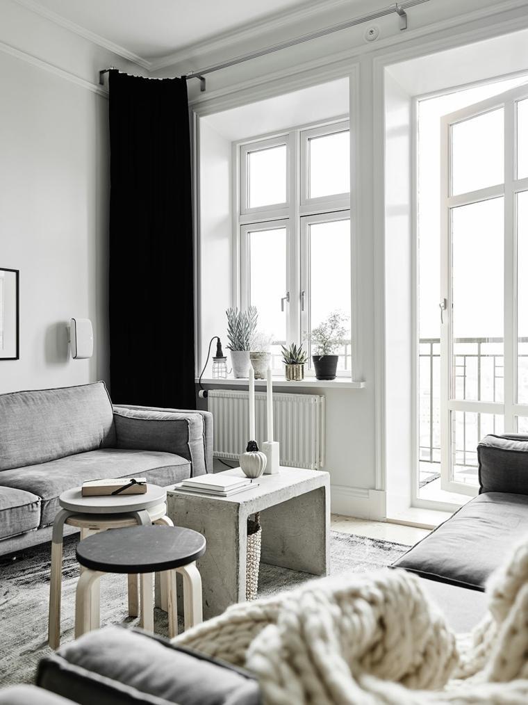 salones de diseno estilo nordico cortinas negras estilo ideas