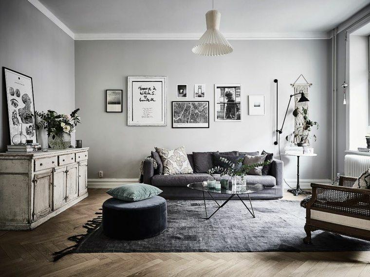 salones de diseno estilo nordico diseno original gris ideas