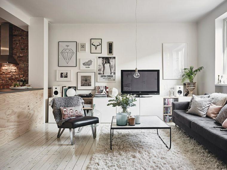 Awesome Salones De Diseño Estilo Nórdico Muebles Color Oscuro Ideas