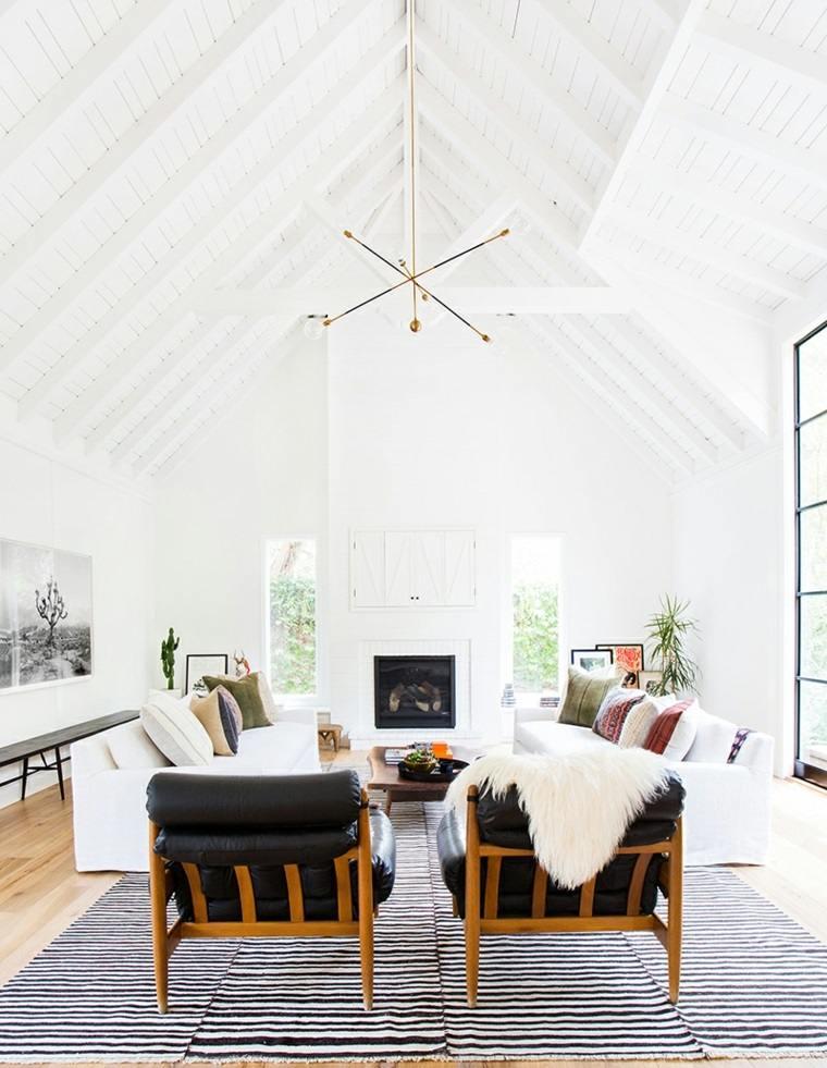 salones de diseño estilo nórdico sillones cuero ideas