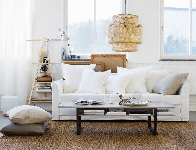 salones de diseno estilo nordico sofa blanca mesa madera ideas