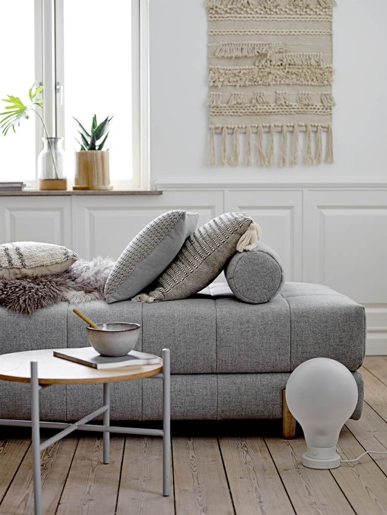 salones de diseno estilo nordico sofa color gris ideas