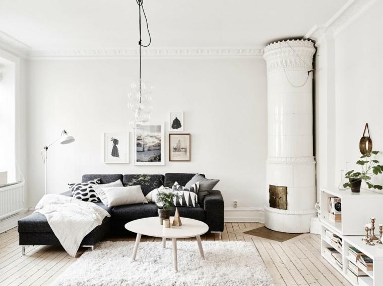 salones de diseño estilo nórdico sofa negra chimenea ideas