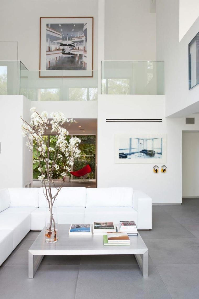 salones modernos ideas mesa centro blanco