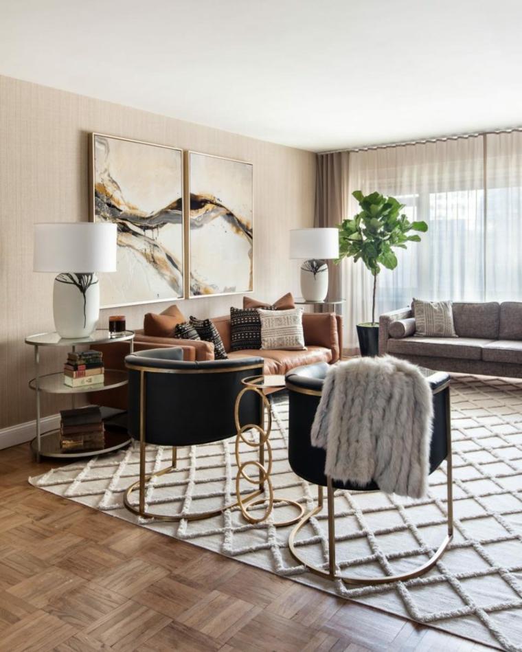 salones modernos ideas obras arte dorados
