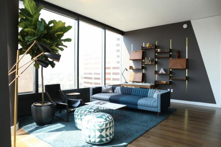 salones modernos ideas plantas interiores grises