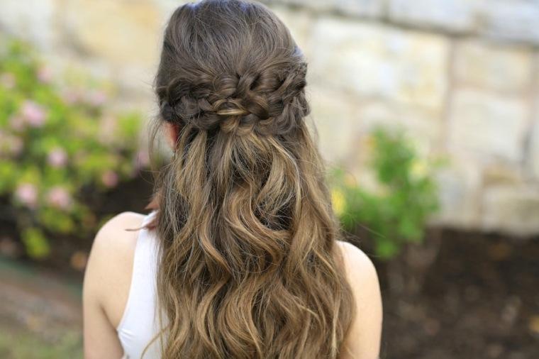 semirecogidos con trenzas estilo peinado ondulado ideas