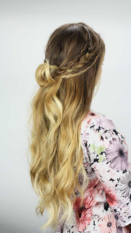 semirecogidos con trenzas pelo largo peinado ideas