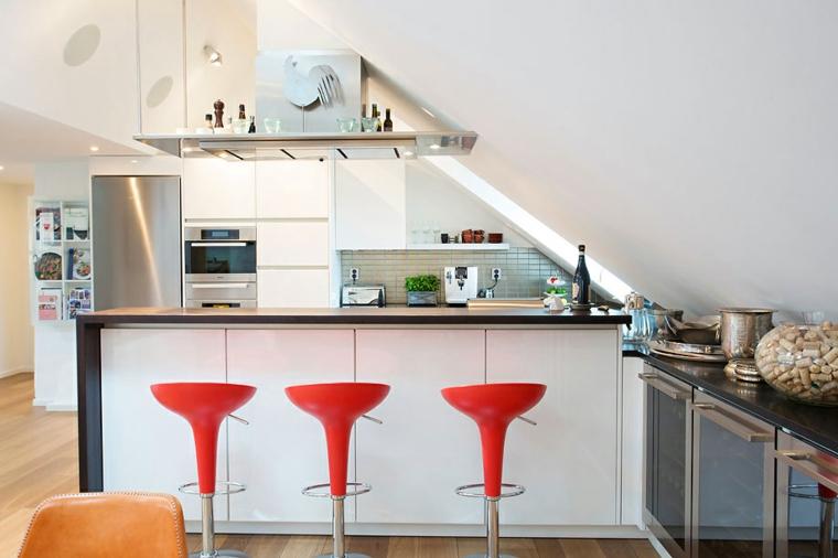 sillas bar rojo cocinas modernas cristales lineas