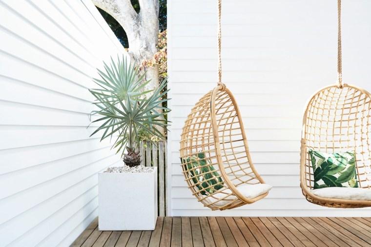 Balancines y hamacas para terrazas 34 ideas impresionantes for Sillas colgantes para jardin