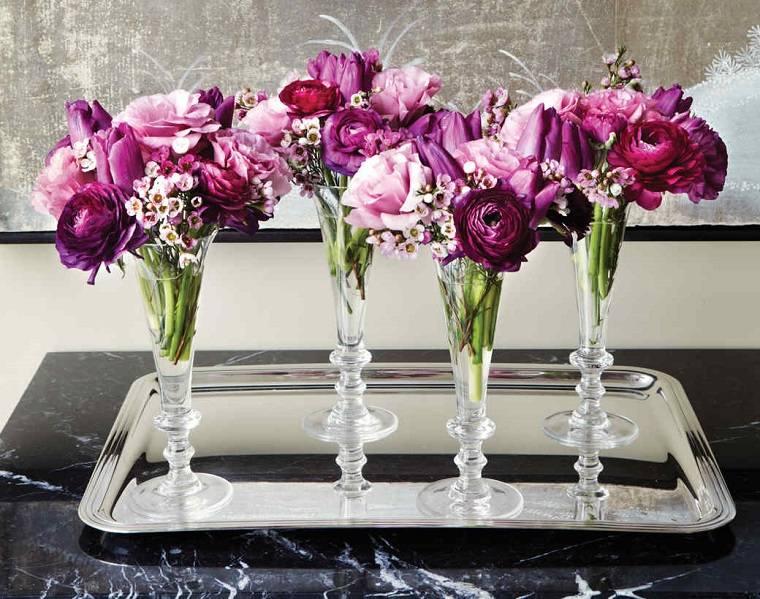 Centros de flores 38 ideas para bodas eventos y fiestas - Centros de mesa elegantes ...
