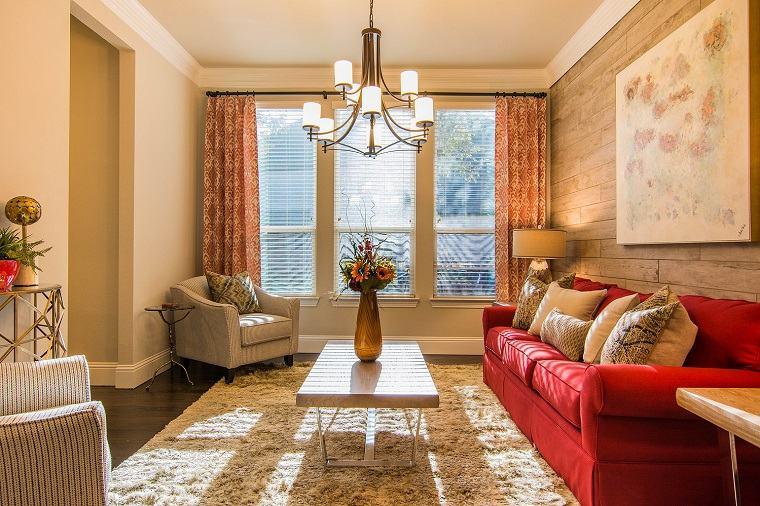 sofa color rojo diseno moderno estilo ideas