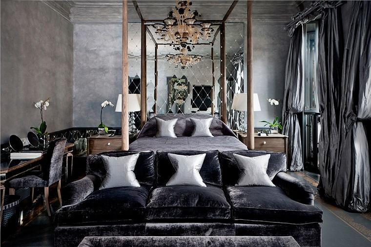 dormitorio lujoso color gris