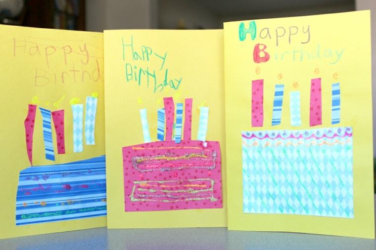 tarjetas cumpleaños tartas papel