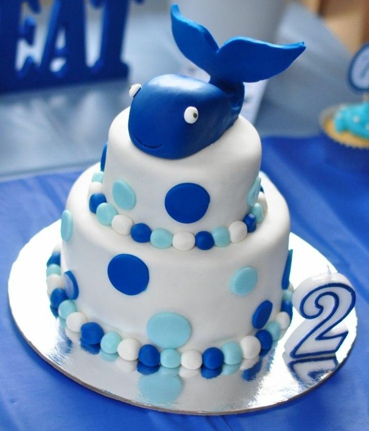 tartas de cumpleaños marino sencillo simples