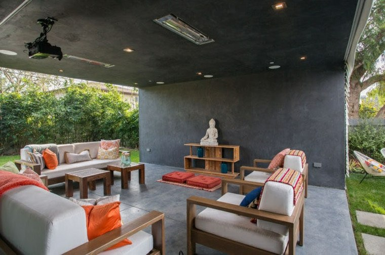 techado espacio descanso cojines materiales