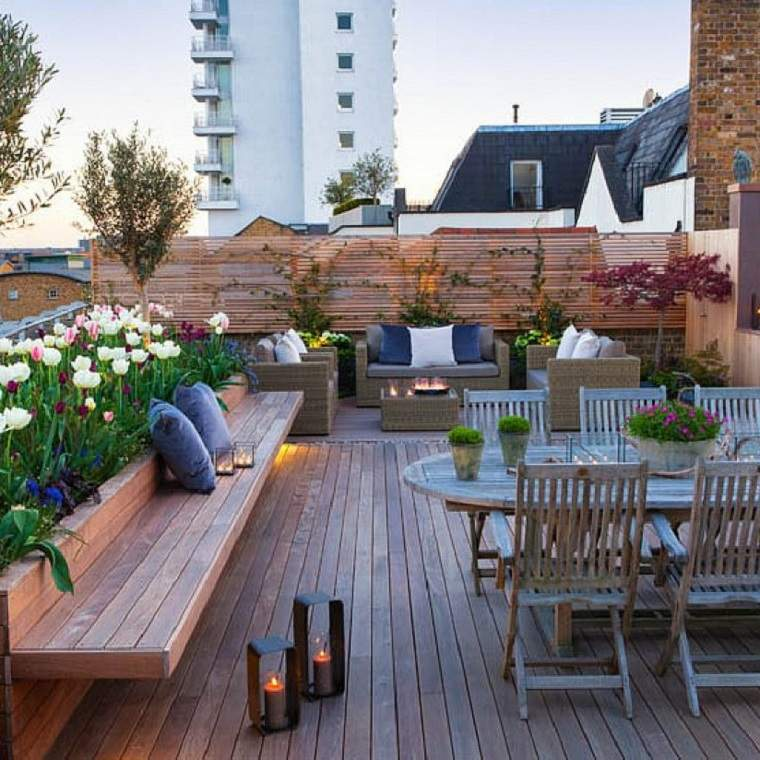 terraza chill bancos madera