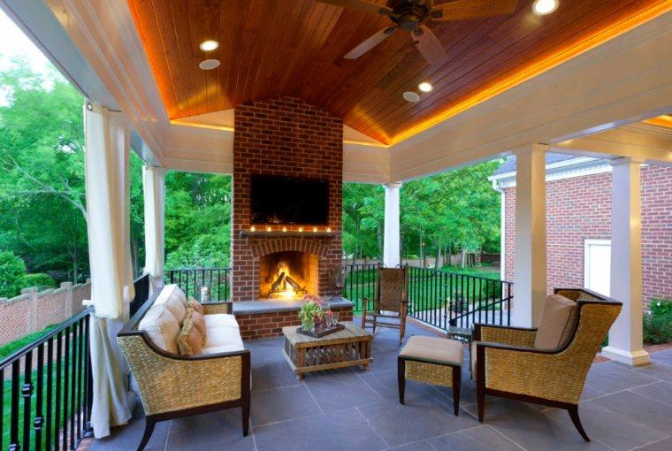 terrazas de diseño chimenea estilo moderno ideas