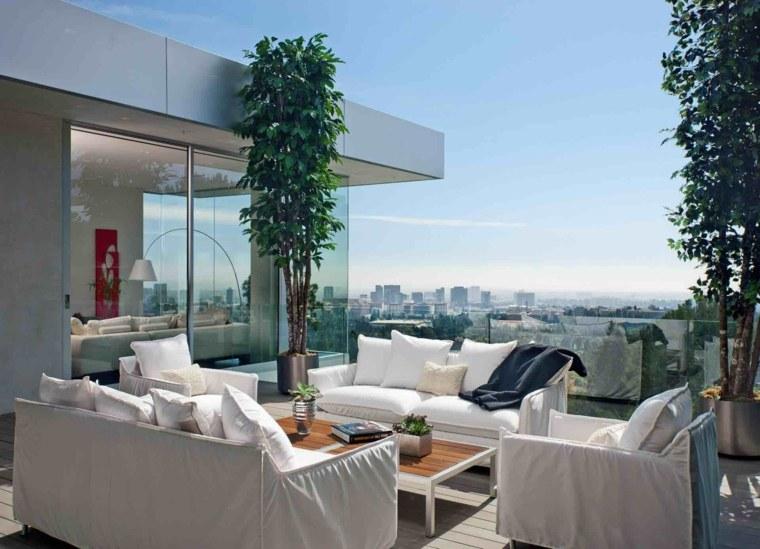 terrazas de diseno moderno muebles blancos ideas