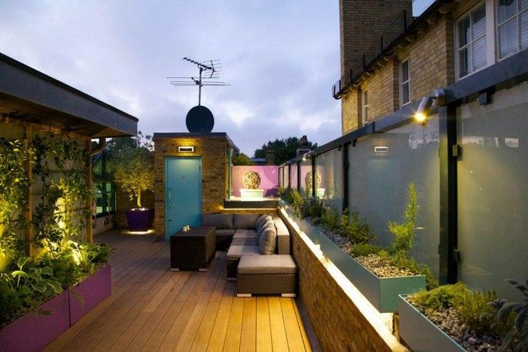 terrazas de diseño suelo madera macetas ideas
