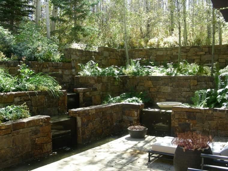 terrazas piedra para jardines modernos