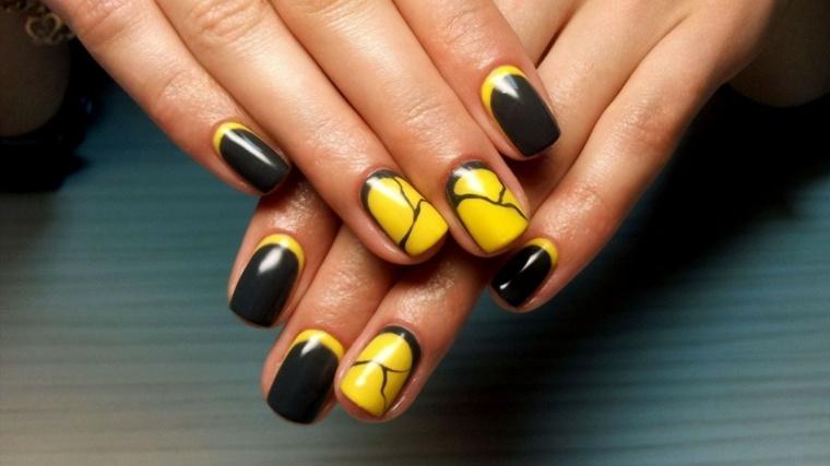 unas decoradas diseno originales negro amarillo ideas