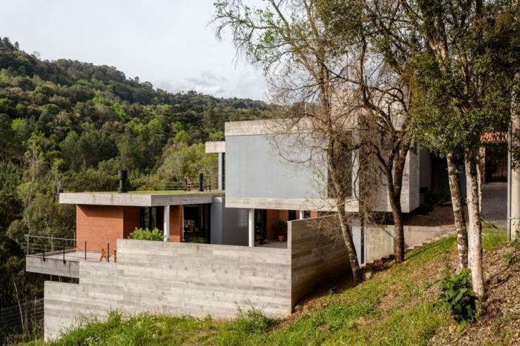 vallas metalicas madera hormigon piedra residencia colina Sucra Arquitetura design ideas