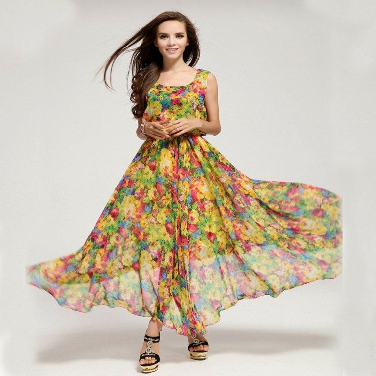 vestido patrones florales estilo chic primaveral