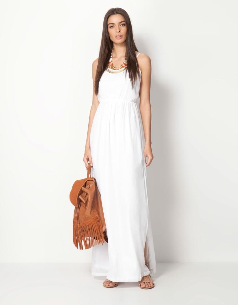 Vestidos Ibicencos Para Pasear En Verano Por La Playa - Vestido-blanco-largo-ibicenco