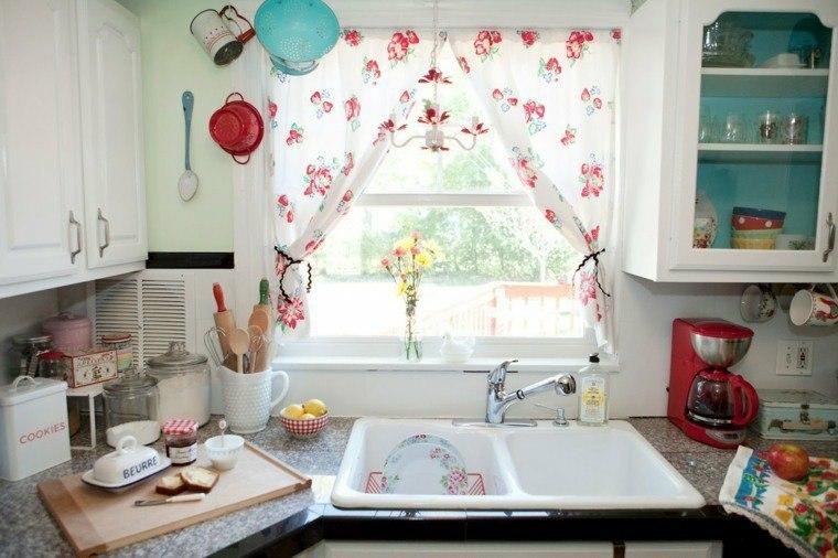 visillos para cocina diseno estampa flores ideas