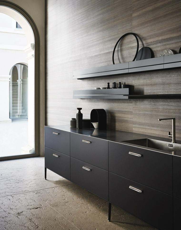 Dise ar cocinas con detalles y muebles de color negro for De carlo arredamenti