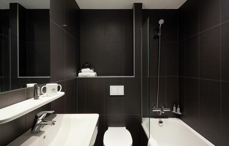 bano moderno negro blanco especial muebles