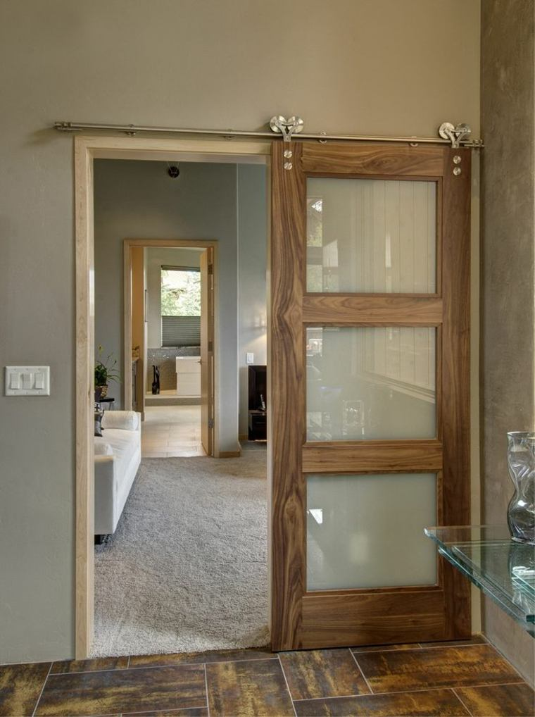 Puertas correderas de cristal para interiores con clase for Disenos de puertas en madera y vidrio