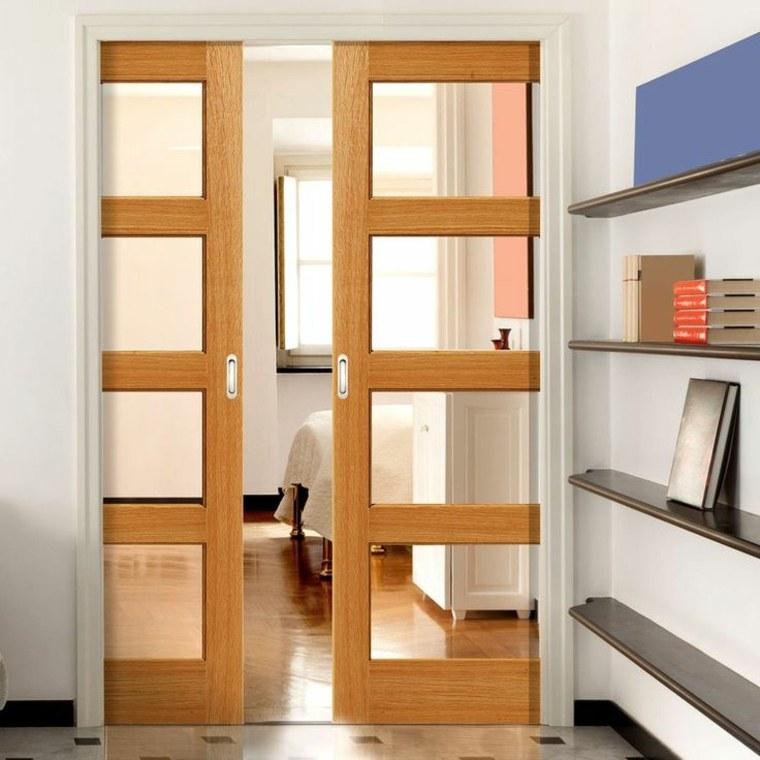 Puertas correderas de cristal para interiores con clase for Puertas de madera para interiores minimalistas